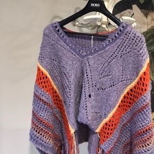 FREE PEOPLE Hidden Valley Fringe Poncho purple NWT